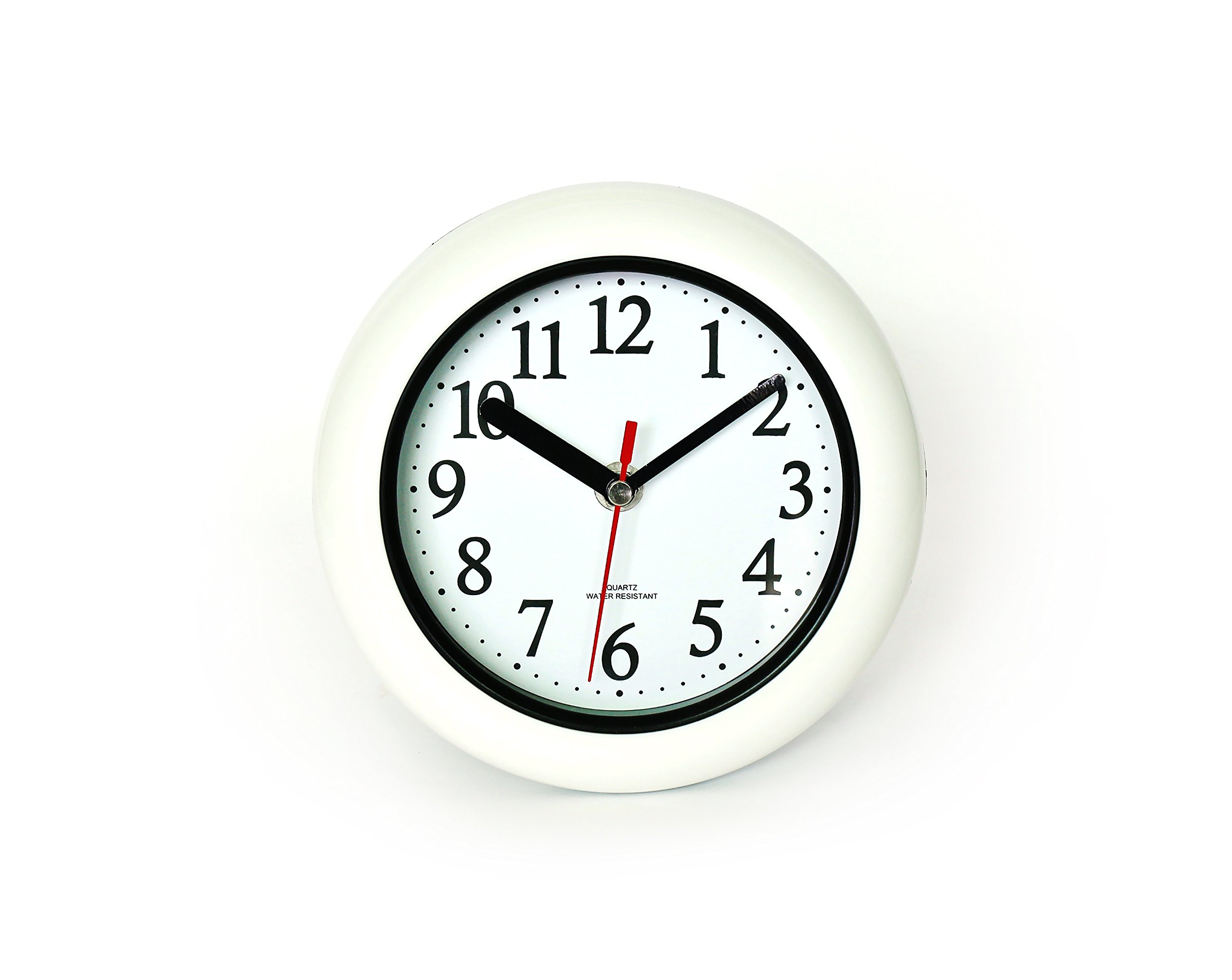 """Perfect White Shell Water Resistant Clock, Quartz Movement, Simple Design, 6.5"""" in Diameter, ABS Glass Front, Flexible Options to Hang or to Stand. Withstand Water Vapor and Moisture. - ★Measuring Frame 6.5 inches in diameter. Thickness approximately 1 inch ☆Requires one Zinc-Carbon AA battery (not included). ★Can withstand water vapor or moister. Perfect for restroom or kitchen. - wall-clocks, living-room-decor, living-room - 71tgM%2BLRYKL -"""