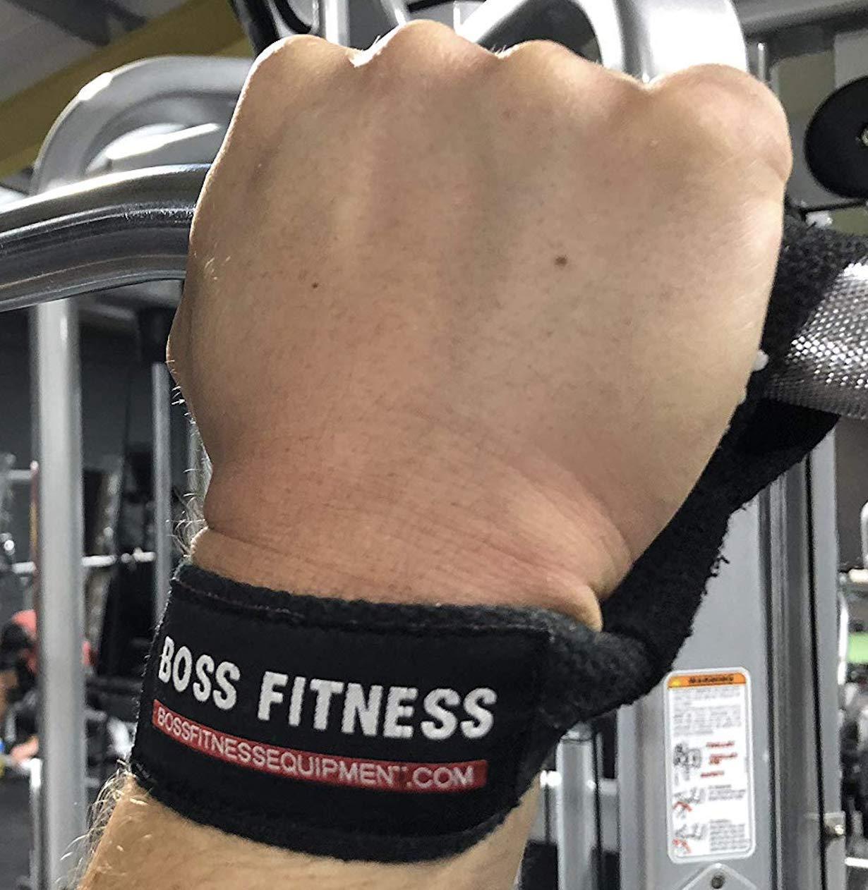Levantamiento de pesas Correas de gimnasia con barra de agarre de goma para culturismo, crossfit, levantamiento de pesas, peso muerto BOSS FITNESS: ...