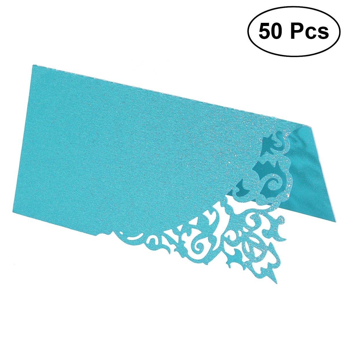 Toyvian Asiento Tarjeta en Forma de Flores Hueca para Decoración de Boda y Fiesta 50Pcs (Azul)