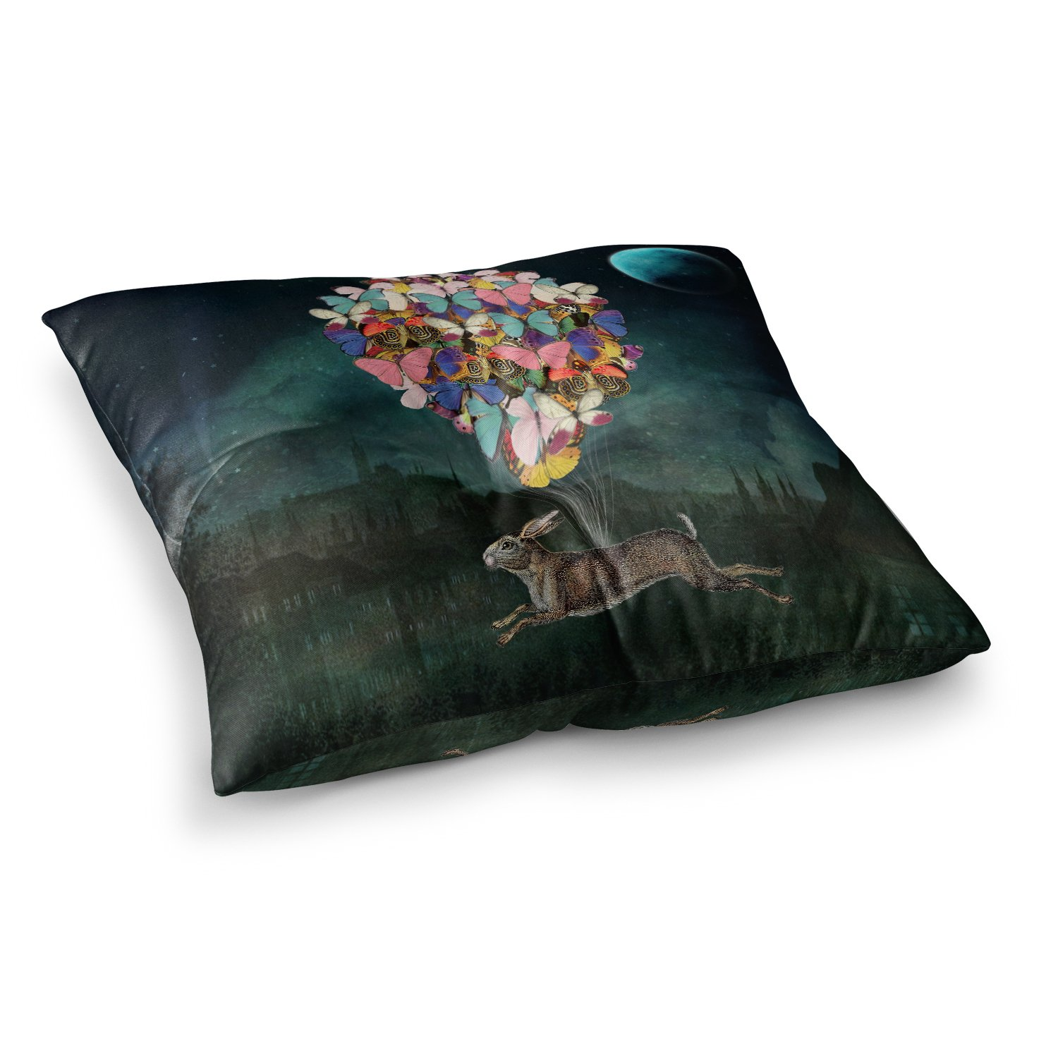 Kess InHouse Suzanne Carter Cross Country Blue Multicolor 23 x 23 Square Floor Pillow