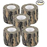 """AIRSSON 5 Roll Camouflage Tape Cling Scope Wrap Military Camo Stretch Bandage for Gun Rifle Shotgun Camping Hunting 2""""x5 yds Self-adhesive"""