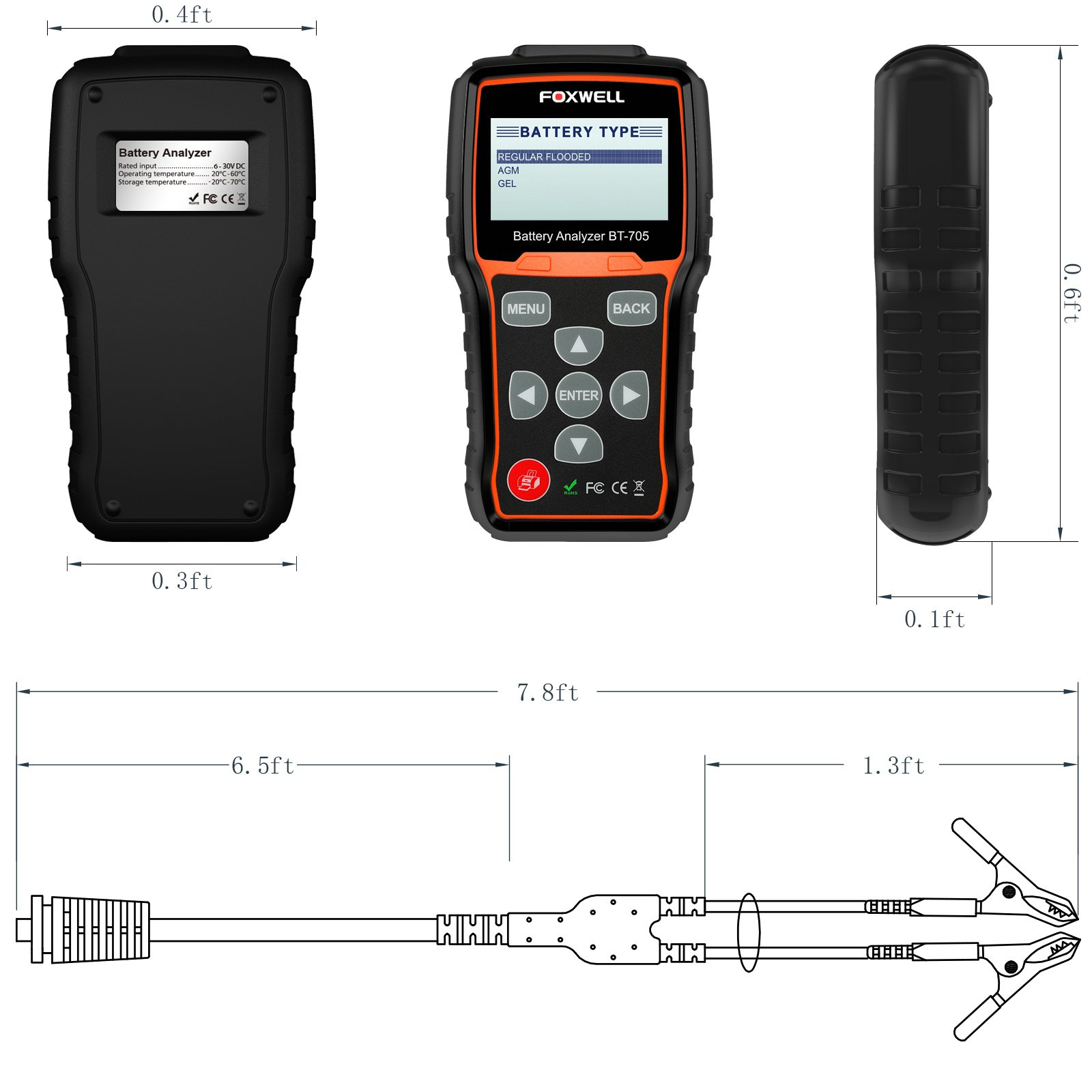 FOXWELL Battery Tester BT705 Automotive 100-2000 CCA Battery Load Tester 12V 24V Car Cranking and Charging System Test Tool Digital Battery Analyzer for Cars and Heavy Duty Trucks by FOXWELL (Image #3)