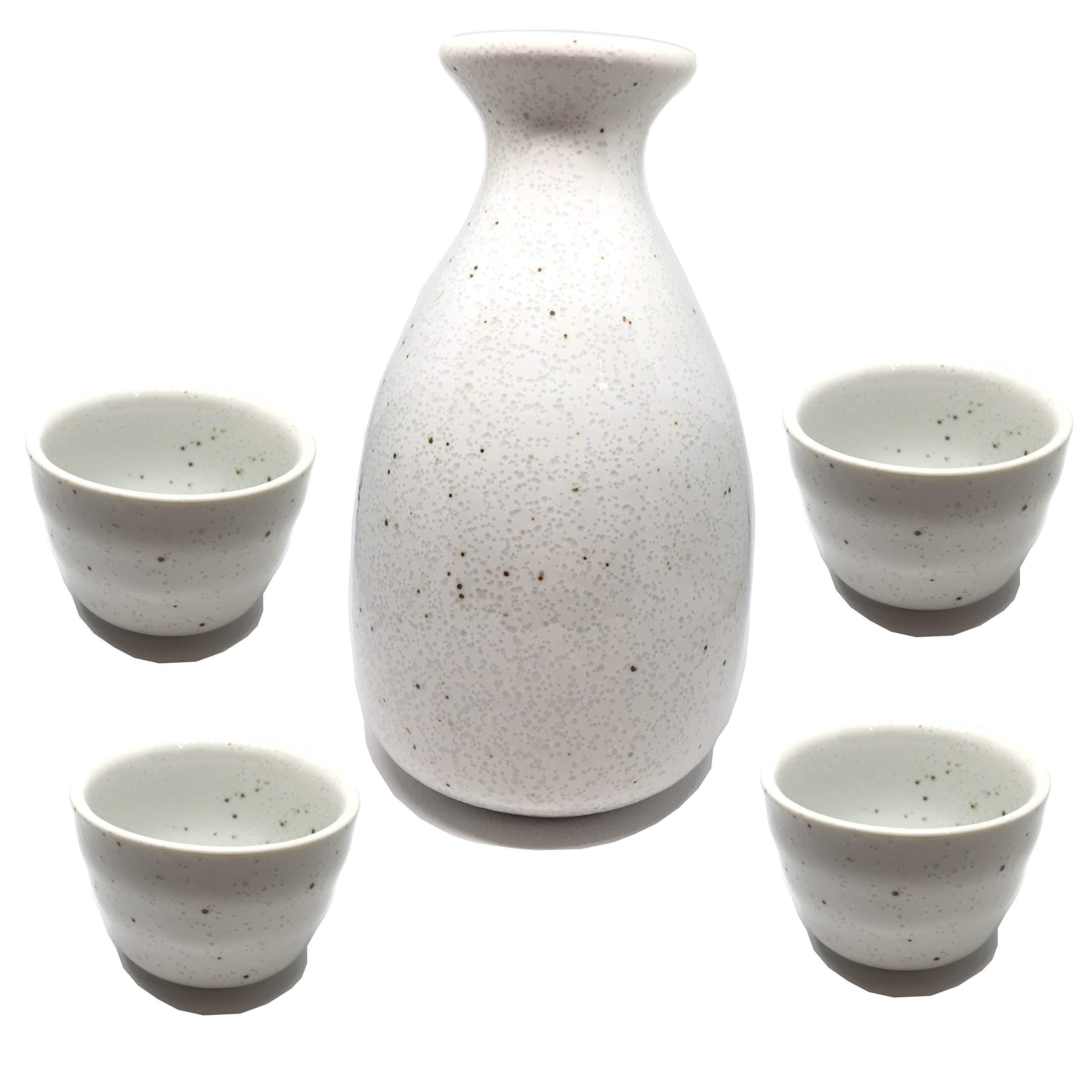 Japanese sake set 5 piece set,white sake bottle''tokkuri'' ×1,sake cup''ocyoko'' ×4 in gift box,Gifts and sushi party.