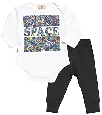 73f8b3c0c SR - Space Print Babygrow & Jersey Trousers Baby Outfit Set - Baby Boy Gift  -. Roll over image to zoom in. Spoilt Rotten