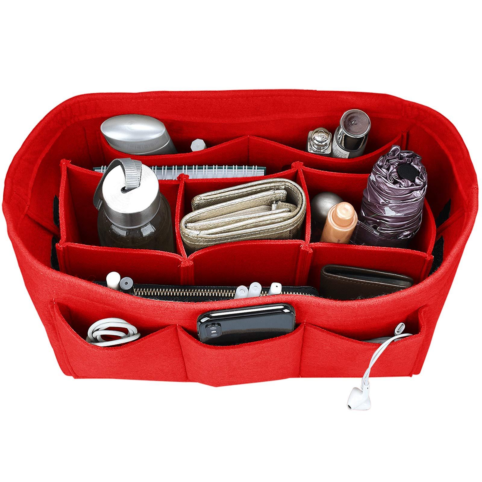 Felt Purse Insert Organizer, Handbag Organizer, Bag in Bag for Handbag Purse Tote, Diaper Bag Organizer, Stand on Its Own,12 Compartments, 4 Sizes (XX-Large, Red)