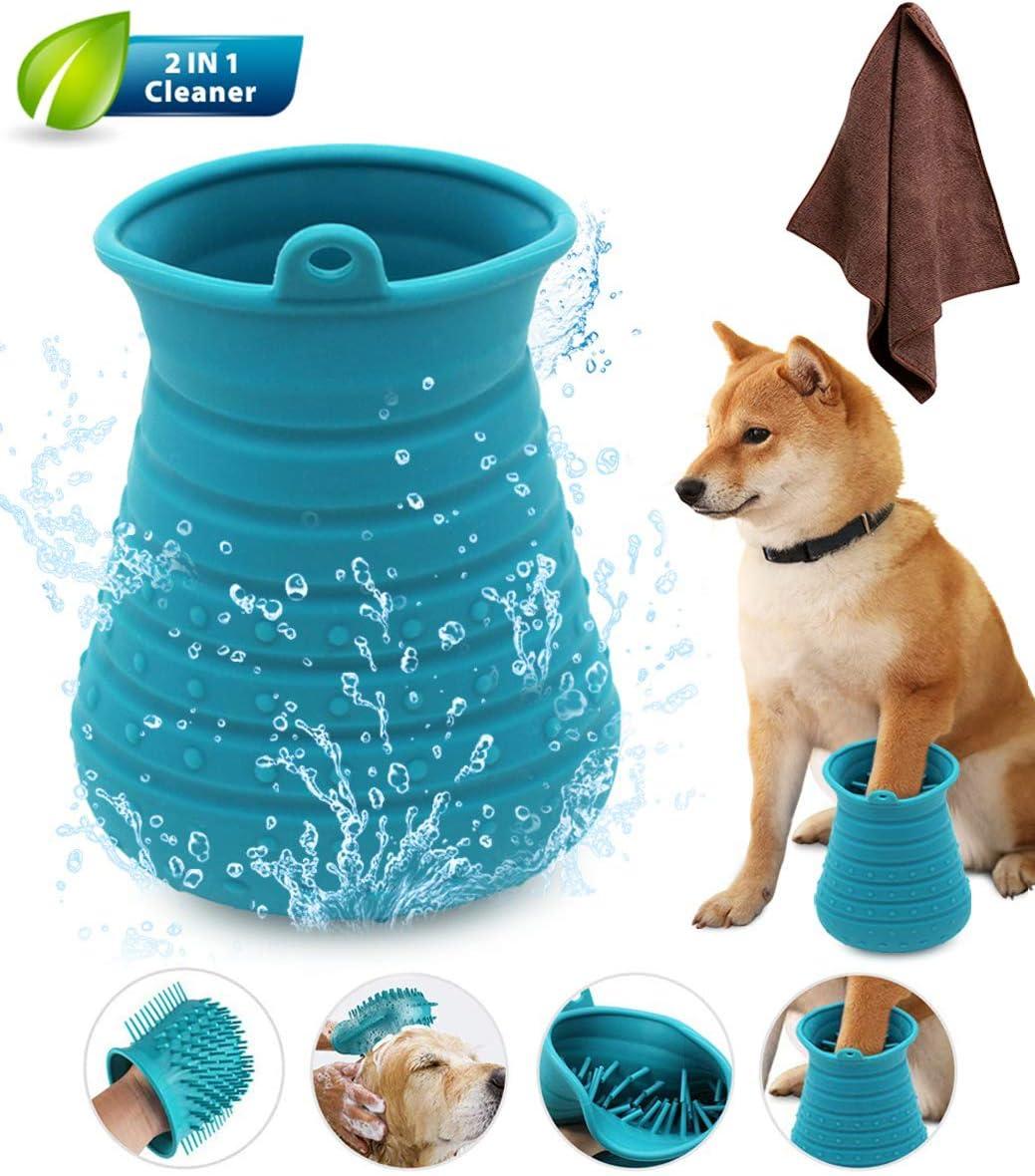 Idepet - Limpiador de patas de perro, cepillo de limpieza portátil con toalla, para limpieza de patas de perros y gatos