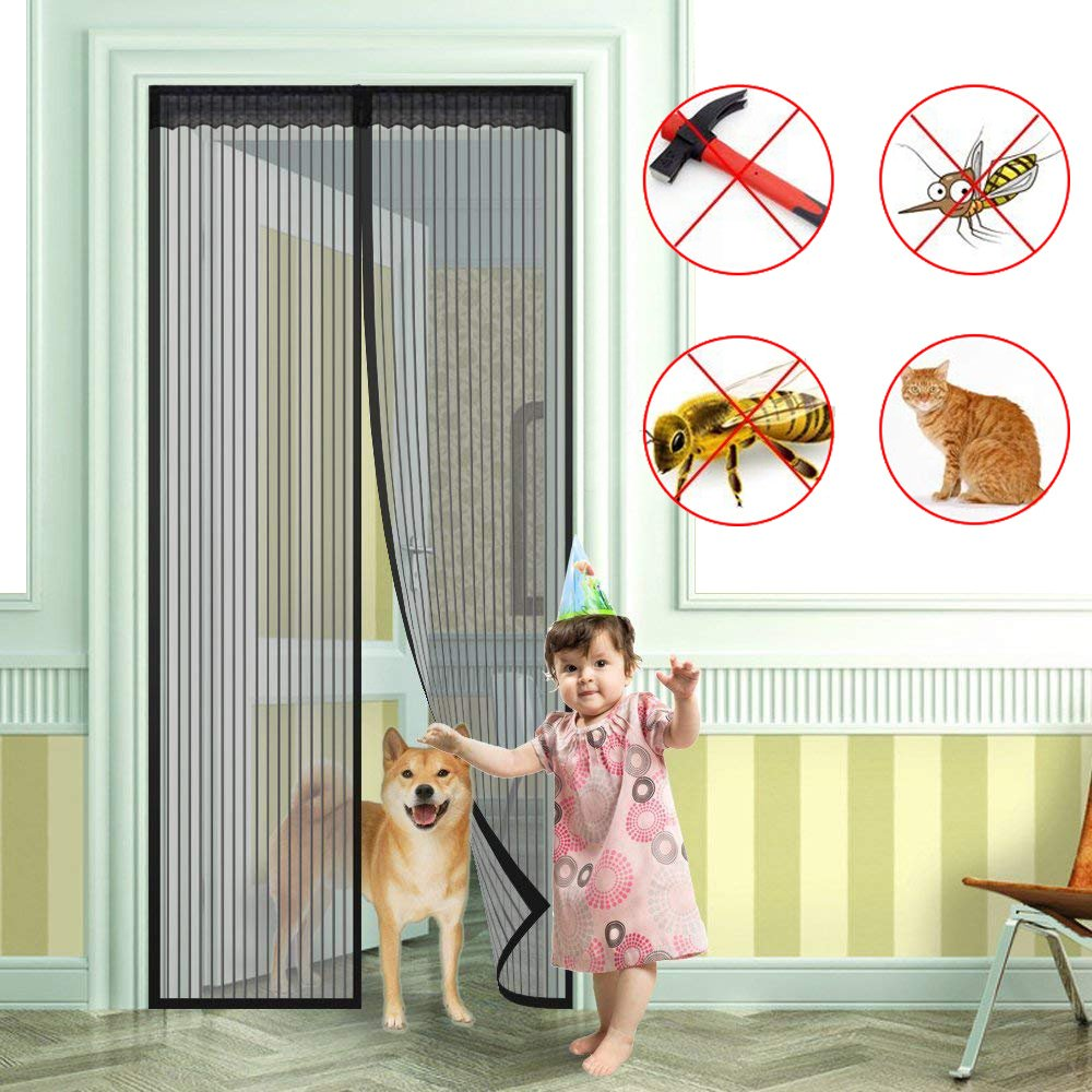 Fly Screens for Doors - Lambony Magnetic Door Fly Screen, Fly Insect Screen Door Screen Mesh Curtain Keep away from Mosquitoes Insects Bugs, Easy to Install without Drilling, Black Color for Anti-Dirty