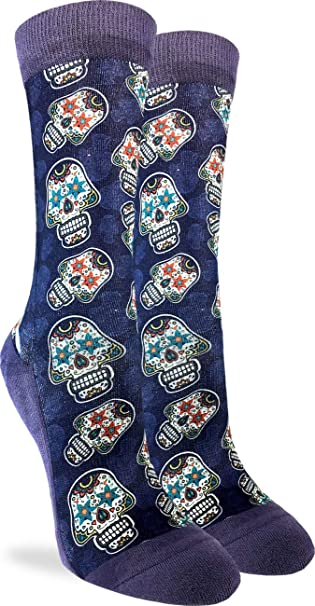 7a7b97378c3 Amazon.com  Good Luck Sock Women s Sugar Skulls Crew Socks - Purple ...