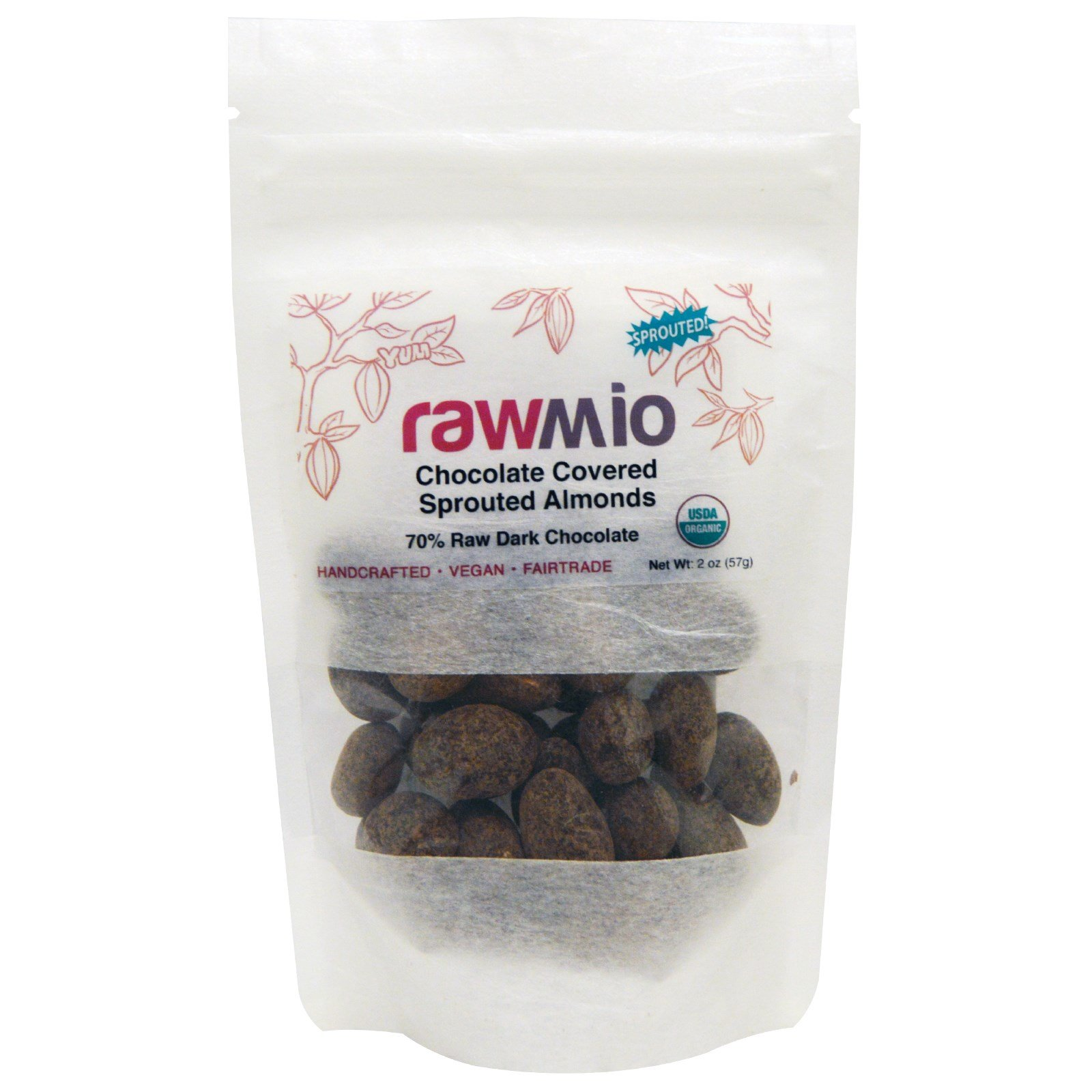 Rawmio, Chocolate Covered Sprouted Almonds, 2 oz (57 g)