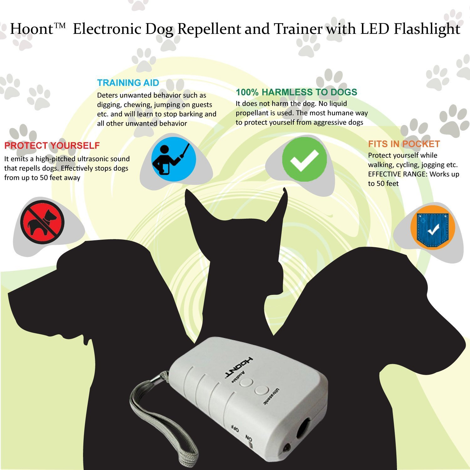 Instecho Handheld Dog Repellent Ultrasonic Infrared Deterrent Electronic Circuit 2 Bark Stopper Good Behavior Training Drfasting