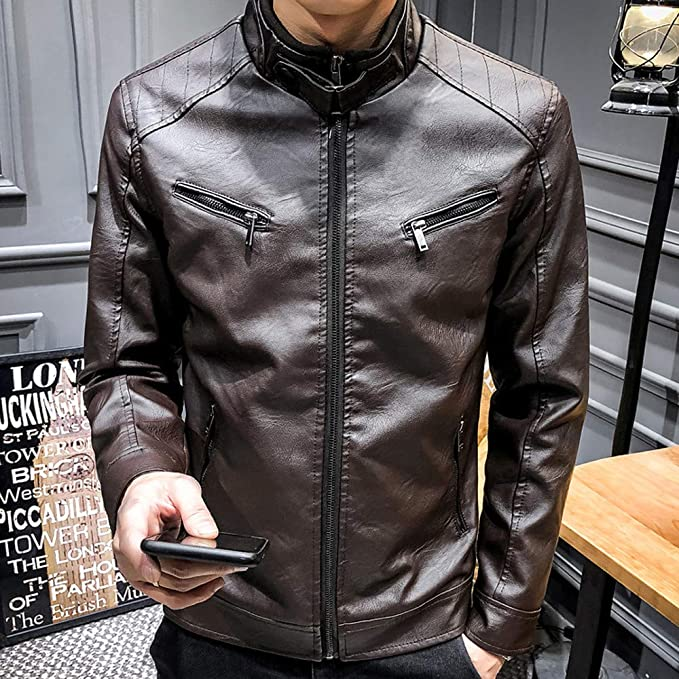 Emubody Leather Jacket Slim Trend for Men Motorcycle Leisure MatteRiow Autumn Winter Coat Jack Fur Chic Short at Amazon Mens Clothing store: