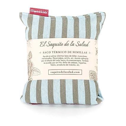 Saco Térmico de Semillas aroma Lavanda, Azahar o Romero tejido Azul con Rayas (Sin Aroma, 23_cm)