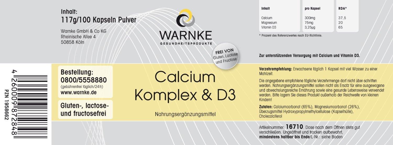Calcio y D complex - con Calcio, Magnesio y Vitamina D3 - 100 cápsulas - vegetariano - 117g: Amazon.es: Salud y cuidado personal