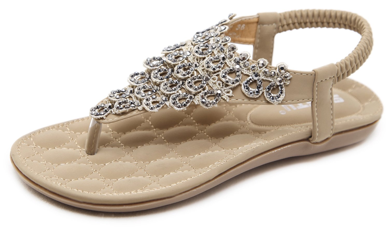 DolphinBanana Women's Summer Thong Flat Sandals Blingbling Rhinestones, Beige T-Strap Flip Flops Bohemian Floral Rivets Comfy Elastic Back Strap, Cushioned Low Top Beach Wear Shoes 2018 Holiday Match