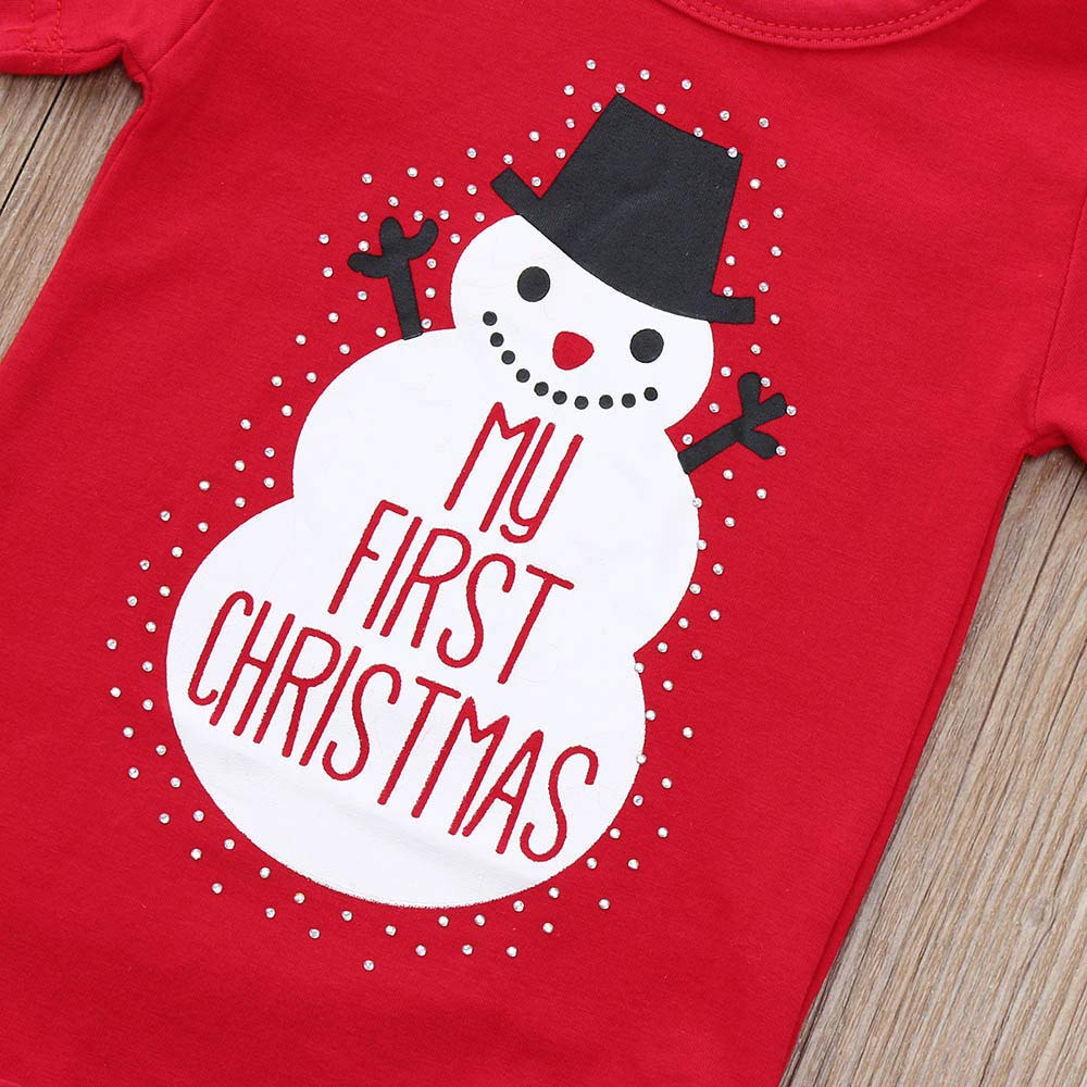 XEDUO My First Christmas 2Pcs Toddler Baby Snowman Letter Print Romper+Hat Outfits