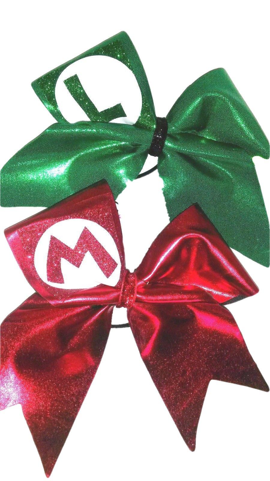 Cheer bows Set of 2 Mario Bros Hair Bows by AZBOWS
