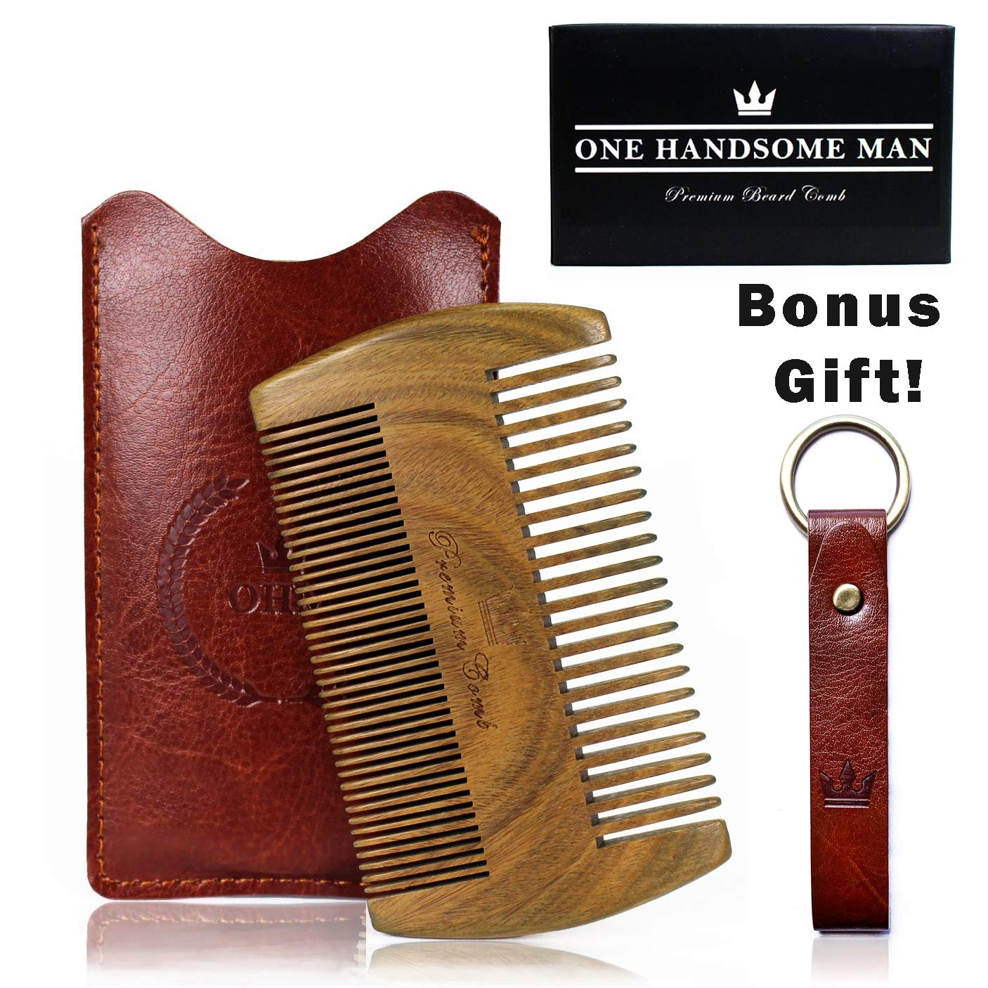 eac4ca533ca3 Amazon.com   Beard Comb Kit by One Handsome Man - Sandalwood Beard Comb  with PU Leather Case and Gift Box - Perfect Gifts For Him or Gift For Men -  Benefits ...