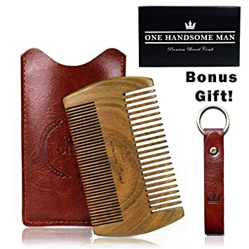 f4c4c899bade Beard Comb Kit by One Handsome Man - Sandalwood Beard Comb with PU Leather  Case and