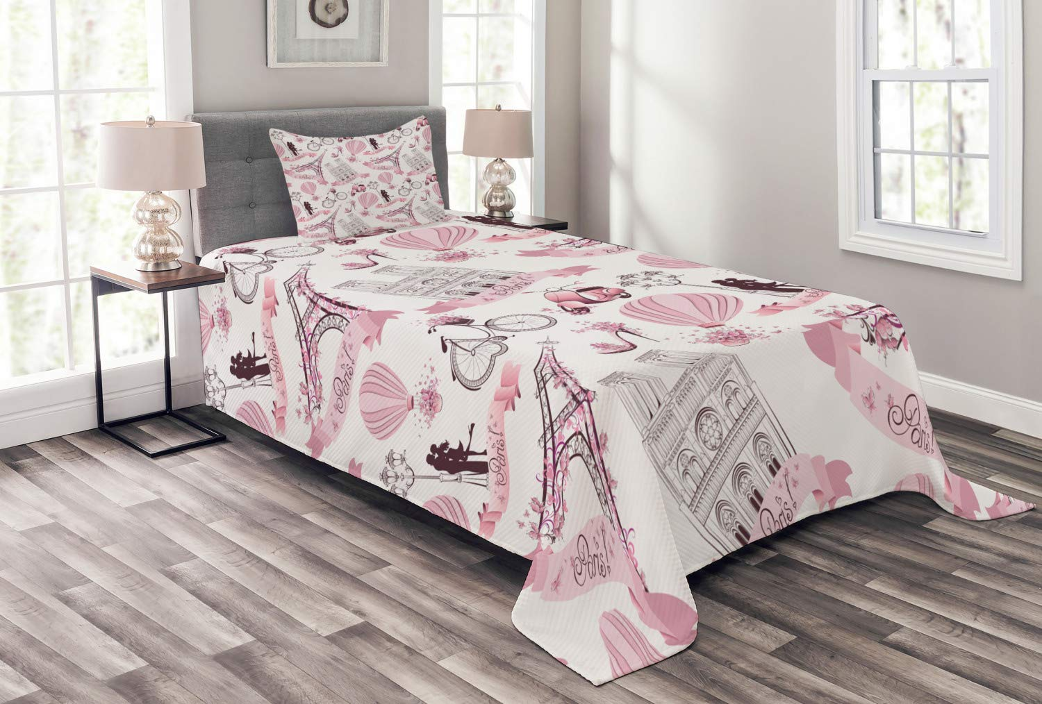 Ambesonne Eiffel Tower Bedspread, Travel in Paris Theme Honeymoon Flowers Romance Hot Air Balloon Bike, Decorative Quilted 2 Piece Coverlet Set with Pillow Sham, Twin Size, Pale Pink