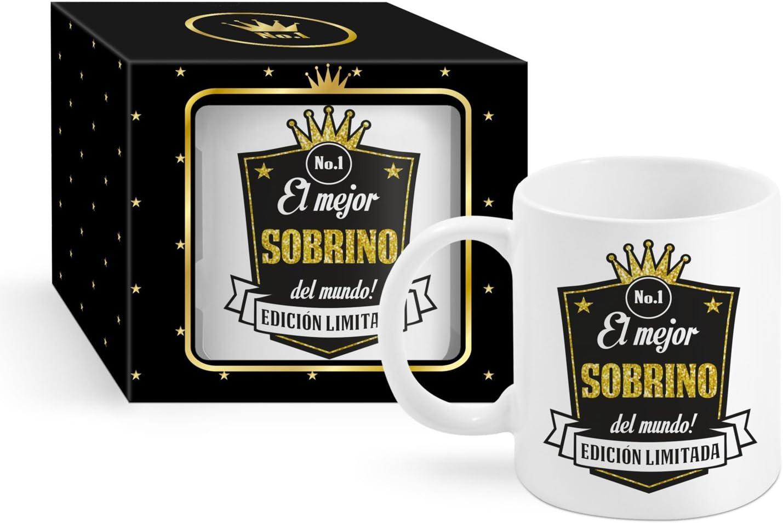 Taza Cerámica para Desayuno en Color Blanco de 300 ml, Un Regalo Original para Sobrinos -