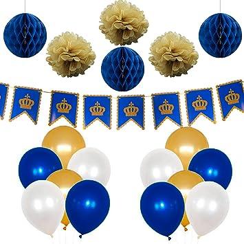 7a70b9a5b4b04c PuTwo Doré Bleu Blanc Ballon 37pcs 12 Pouces Ballon Helium Doré ...