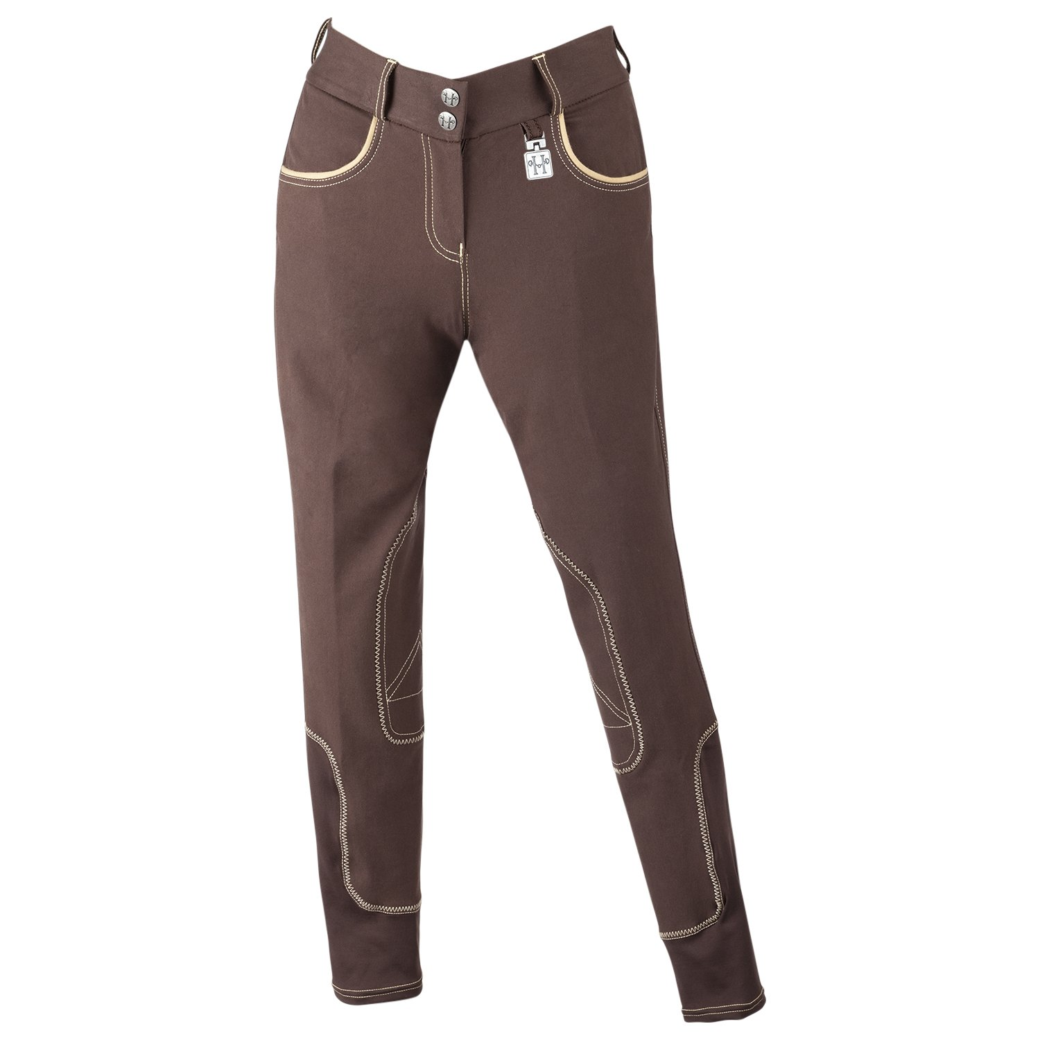 Huntley Equestrian Riding Pants with Tan Welt Pockets 01032-Brown-34-P
