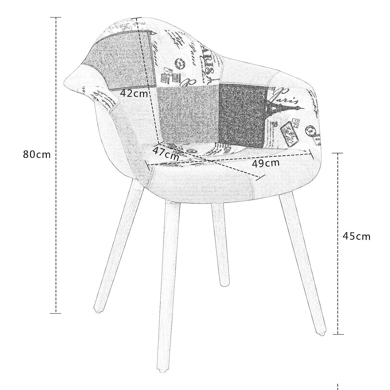 Pata Madera Dise/ño N/órdico para sal/ón Cocina Comedor 2 Pack Elightry Silla de Comedor con Respaldo Asiento de Lino Patchwork Oficina