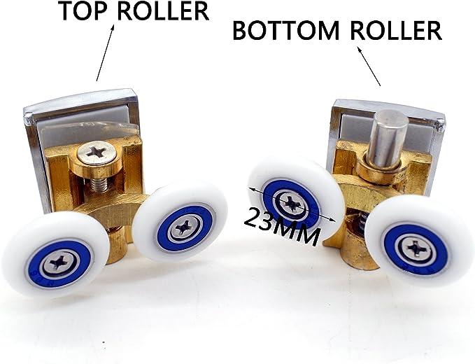 Poleas de fijación para puerta de ducha de cobre de repuesto en cromo – 2 x parte superior y 2 x parte inferior – Compatible con cristal de 4 – 6 mm: Amazon.es: Bricolaje y herramientas