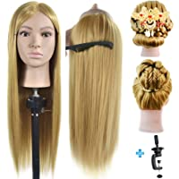 """ErSiMan 26""""- 28"""" Mannequin Head 100% Synthentic Fiber Hairdresser Training Head Cosmetology Manikin Doll with Free Table Clamp Stand"""