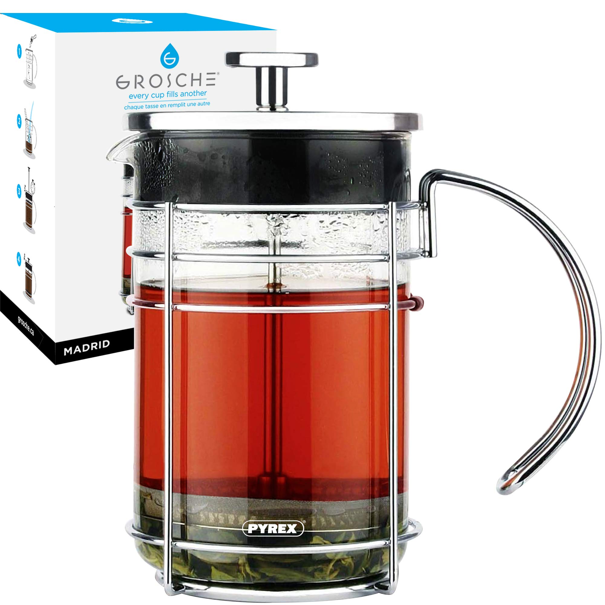 GROSCHE Madrid French Press Coffee Maker and Tea Press, 34 oz / 1000 ml size, Pyrex France Borosilicate Glass Beaker and Premium Stainless Steel Filter and Chrome Finish Coffee Press by GROSCHE