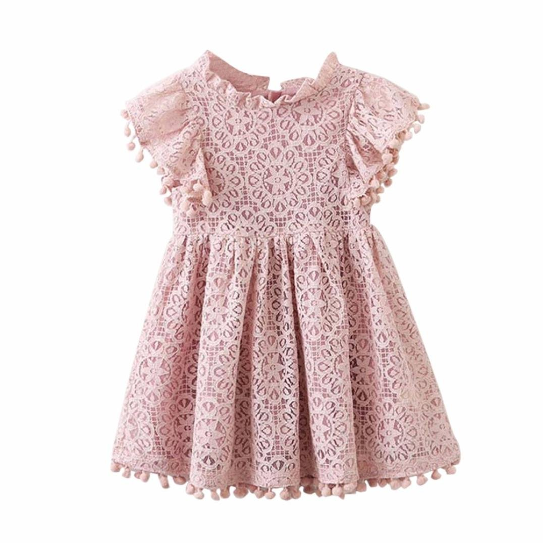 12M-6T Kids Baby Girls Cotton Cute Floral Print Lace Fly Sleeve O-Collar Princess Hollow Dresses Clothes (Pink, 6T)