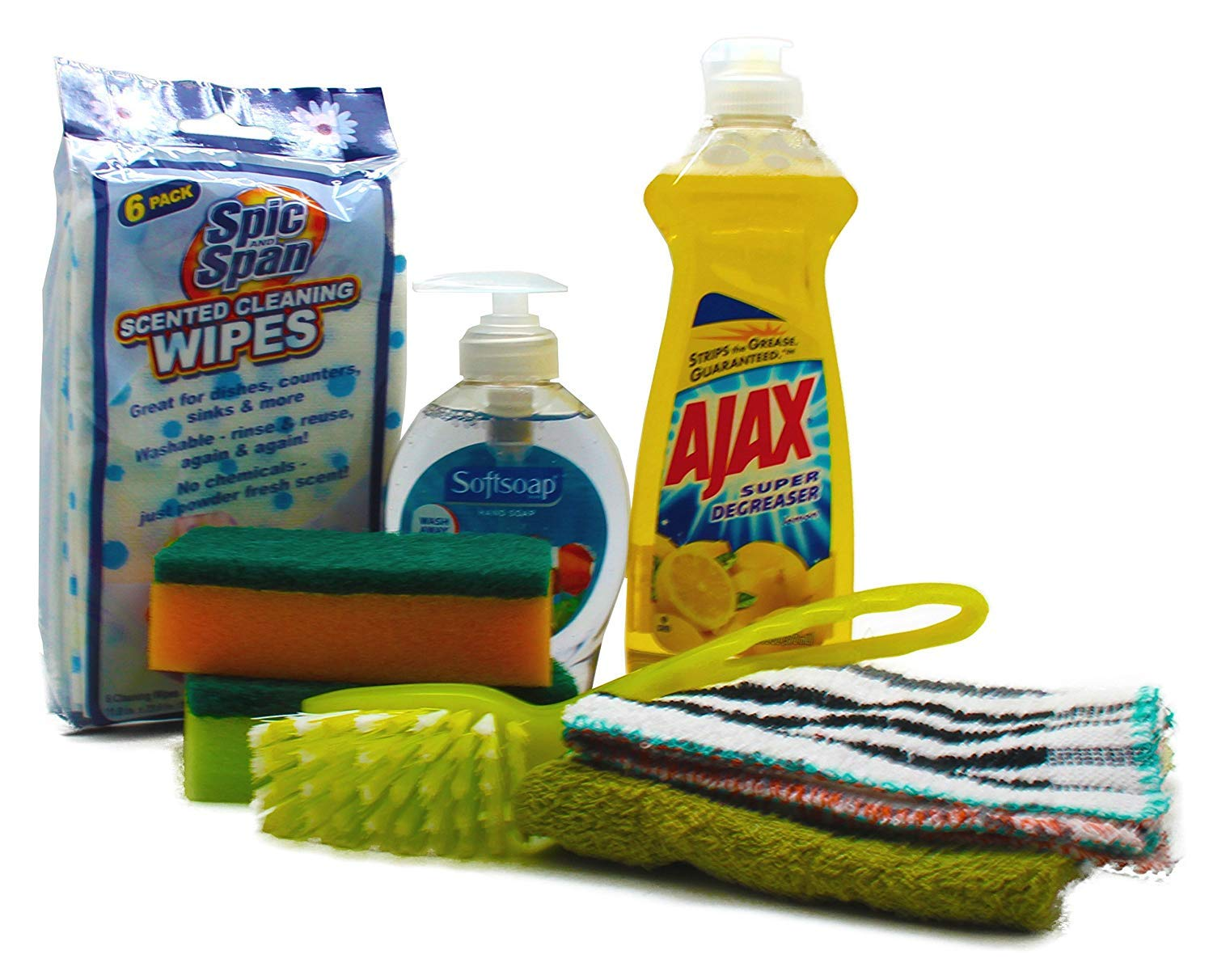 Dorm Room All Inclusive Kitchen Cleaning Kit with Ajax, Sponges, Soap Hand  Wash & More