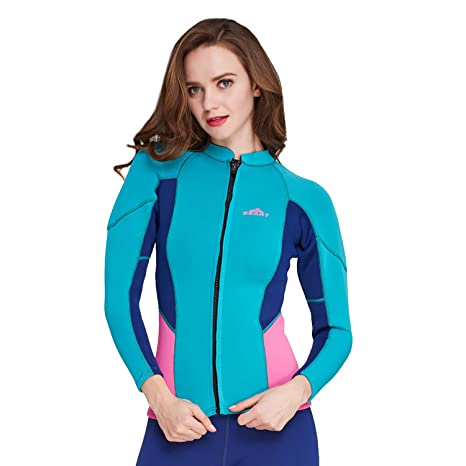 Image Unavailable. Image not available for. Color  Cahayi 2mm Neoprene Long  Sleeve Diving Jacket Front Zipper Women s Wetsuit Top 0d68c59aa