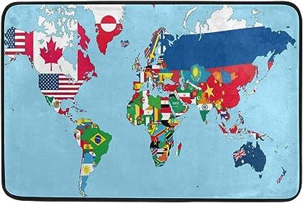 Cartina Mondo Con Bandiere.Coosun La Mappa Del Mondo Con Tutti Gli Stati E Bandiere Zerbino Entrata Way Indoor Outdoor Door Tappeto Con Fondo Antiscivolo 23 6 Da 39 9 Cm Amazon It Casa E Cucina