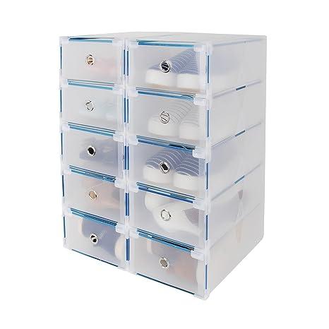 10x De Almacenamiento Cajas Zapatos Apilables Cajones Caja CC5nxr8
