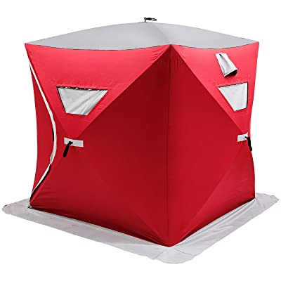 Popsport 2/3/4/8 Person Ice Fishing Shelter Tent 300d Oxford Fabric Portable Ice Shelter Strong Waterproof Ice Fish Shelter for Outdoor Fishing