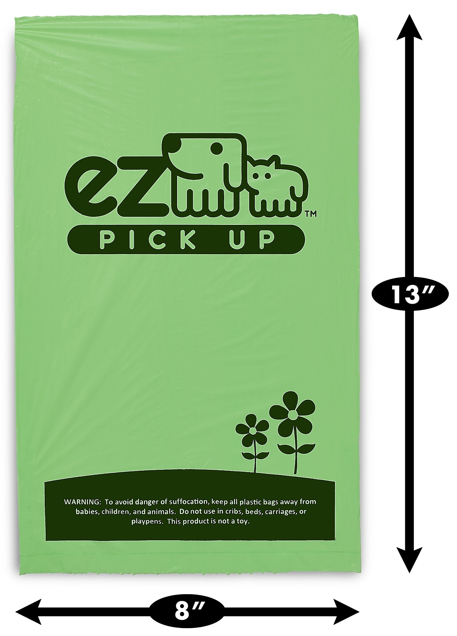 1000 Pet Waste Disposal Dog Poop Bags, EZ Pickup Bags Green (single roll, not on small rolls) by EZ (Image #2)