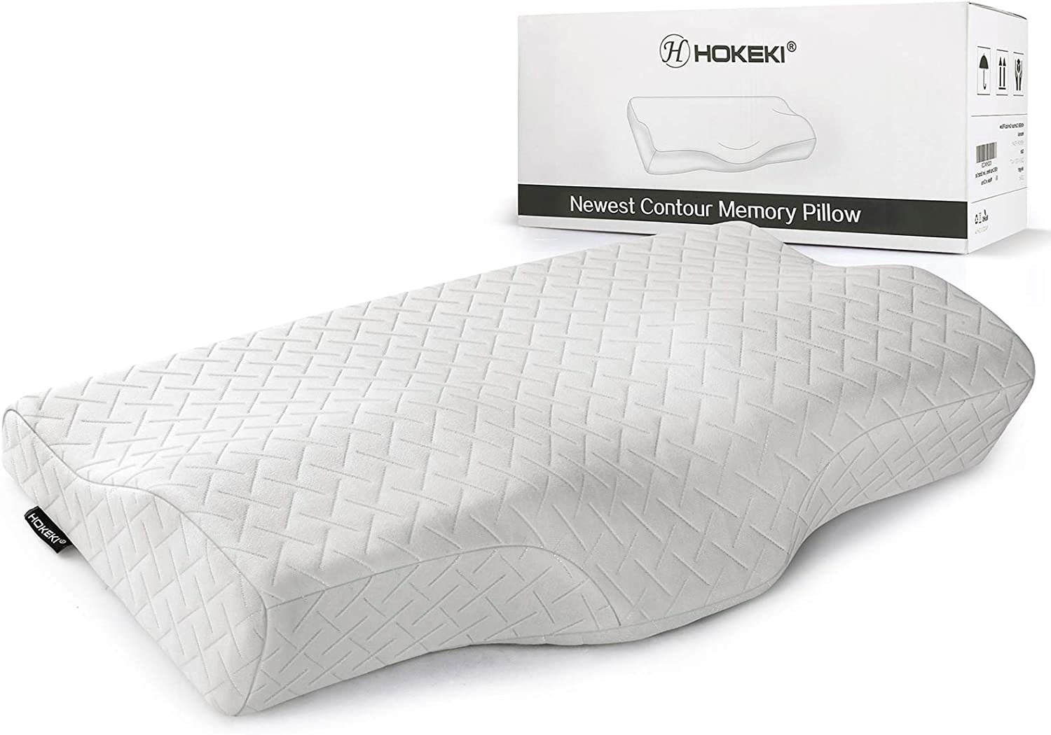 HOKEKI Contour Memory Foam Pillow Neck Pain Support, Neck Pillows for Pain Relief Sleeping, Ergonomic Cervical Pillow, Sutera Sleep Orthopedic Pillow with Pillowcase for Side, Back, Stomach Sleepers