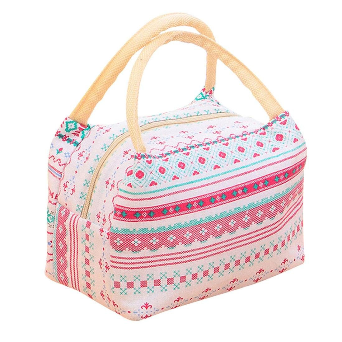 Lunch Bag,Haoricu 2018 Clearance Universal Insulated Canvas Box Tote Bag Thermal Cooler Food Lunch Bags For Women Kids Men (Multicolor 1)
