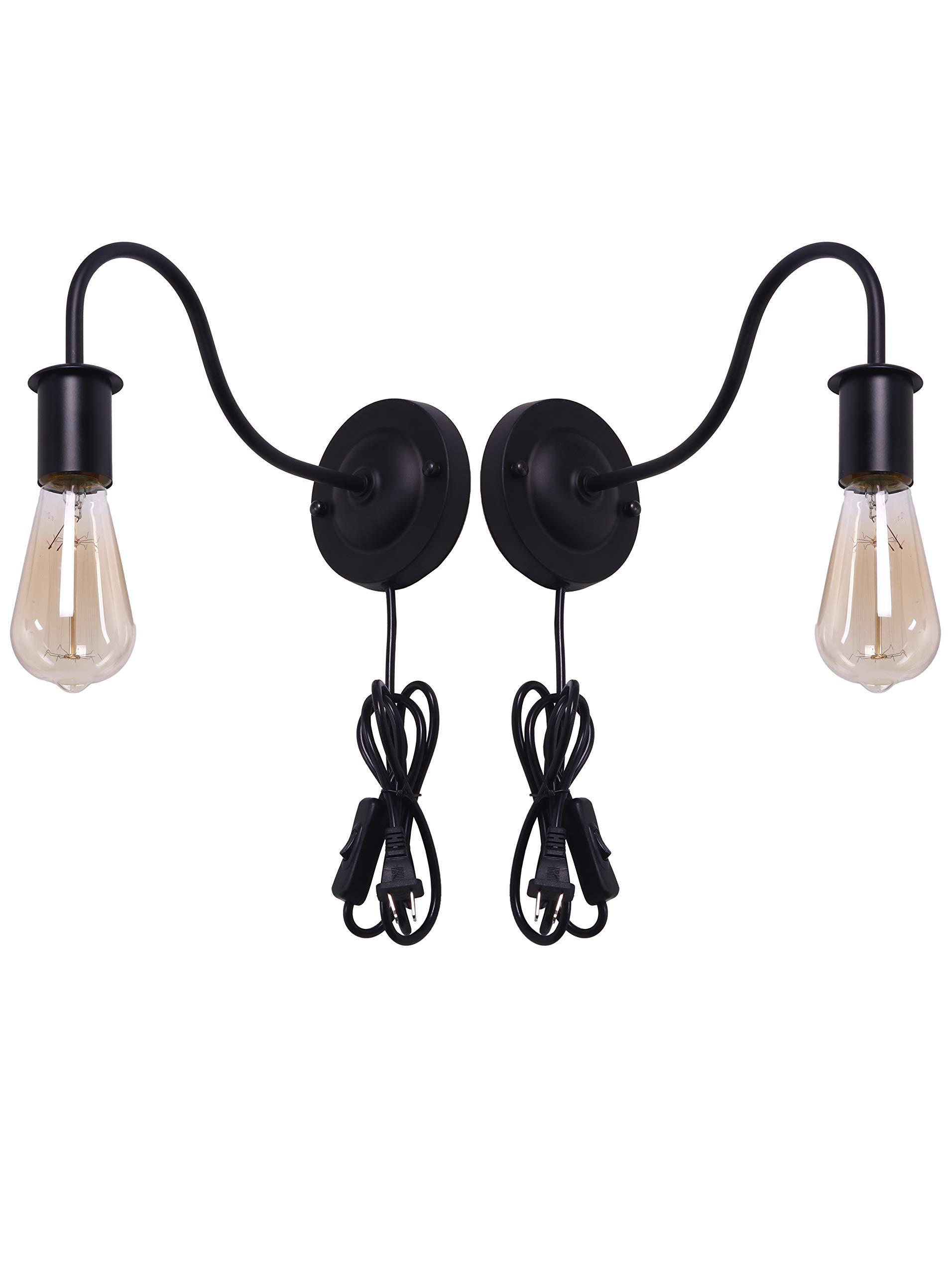 "BRIGHTESS W8909 Retro Wall Sconces Light Gooseneck Barn Lights Wall Mount Set of 2 Packs E26 Base Plug in Black Industrial Vintage Edison Wall Lamp Fixture Led Porch Light(2packs) - Retro style wall Lamp Illuminates deck, front porch, driveway and decor your Home. Led wall lamp,Dimensions:L10""xH6, Back Plate Dia 4.7"". SOLID METAL CONSTRUCTION: Made of high quality brass metal and baking paint finish. VOLTAGE: AC110V for North America.USA STANDARD E26 Base. Light bulb NOT Included. Bulb types: LED, CFL, incandescent. Meet the standard fixture requirements. - bathroom-lights, bathroom-fixtures-hardware, bathroom - 71tgUqw%2BR0L -"