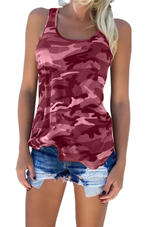 Women Summer Tunics Plus Size Sleeveless Tank Shirt Camouflage Top CAMEG1039