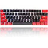 WHYSP 61 Keycaps 60 Percent, Red and Black Keycaps Set PBT OEM Costume Ducky Keycap with Key Puller for Cherry MX Switches GH