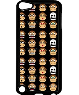 Funny Monkey Emojis - Rosie Parker Inc. TM Hard Black Plastic Case Compatible with the Apple iPod Touch 5 Universal