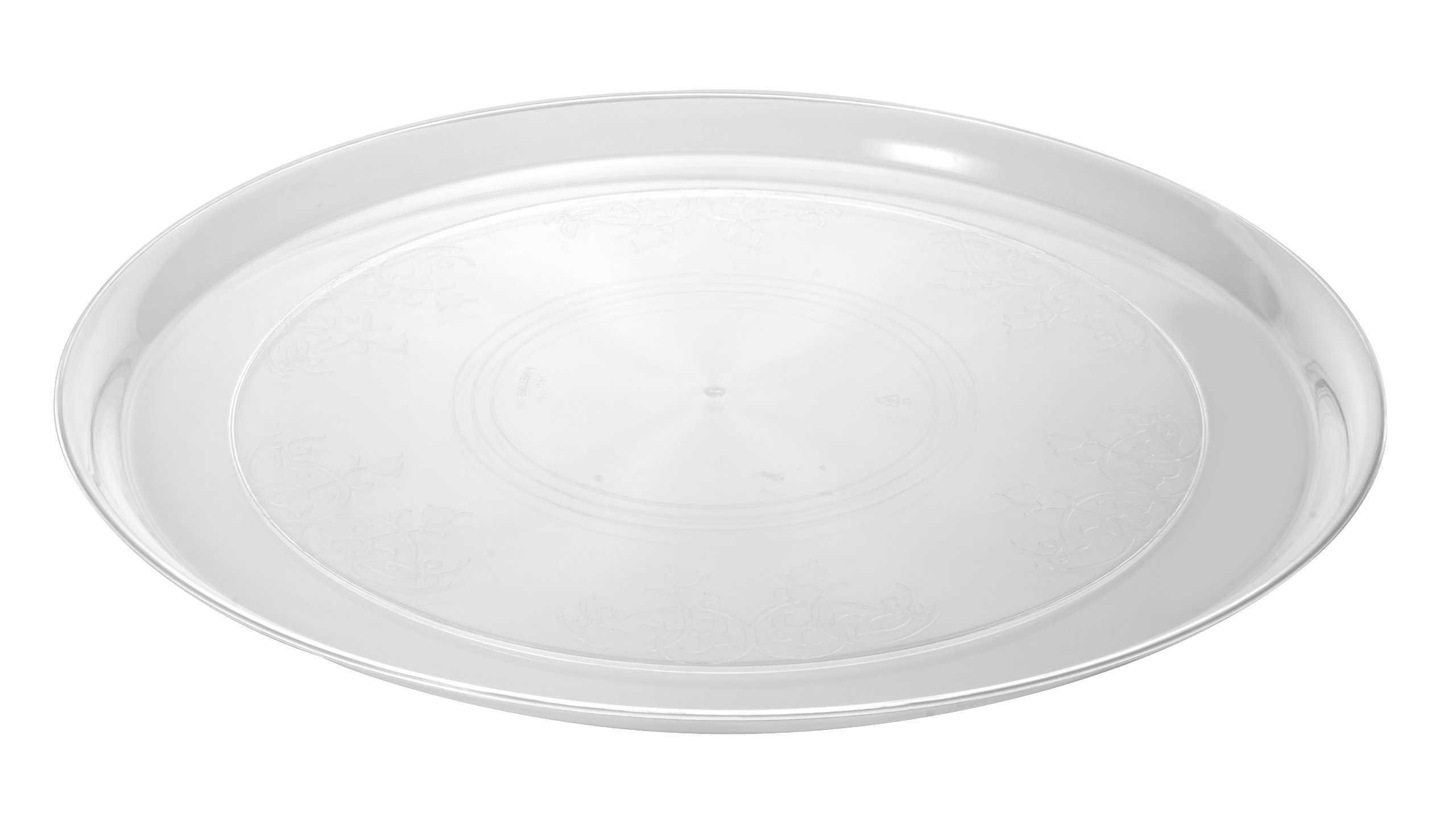 Fineline Settings Platter Pleasers Clear Supreme 14'' Round Tray 25 Pieces