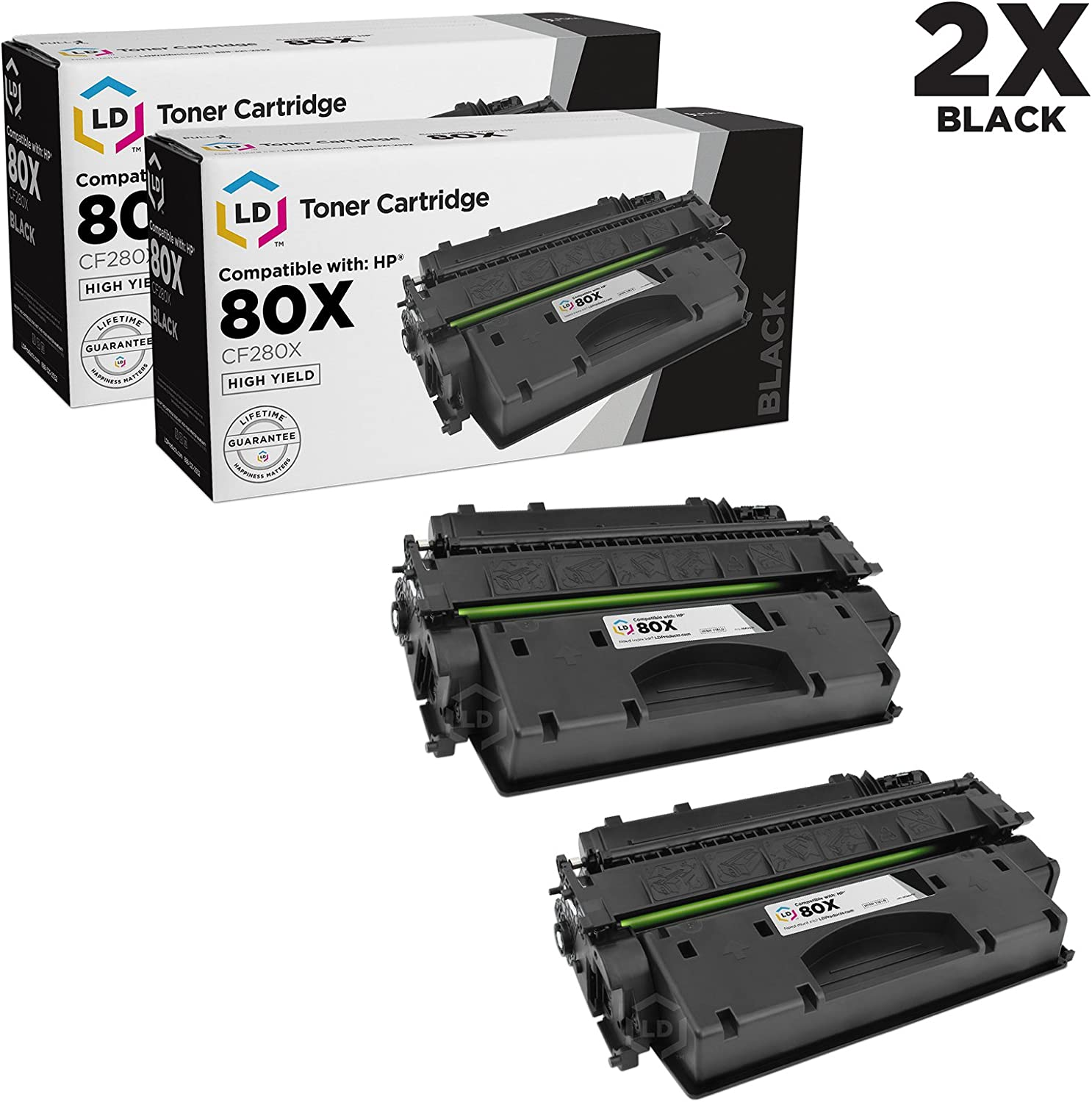 LD Compatible Toner Cartridge Replacements for HP 80X CF280X High Yield (Black, 2-Pack)
