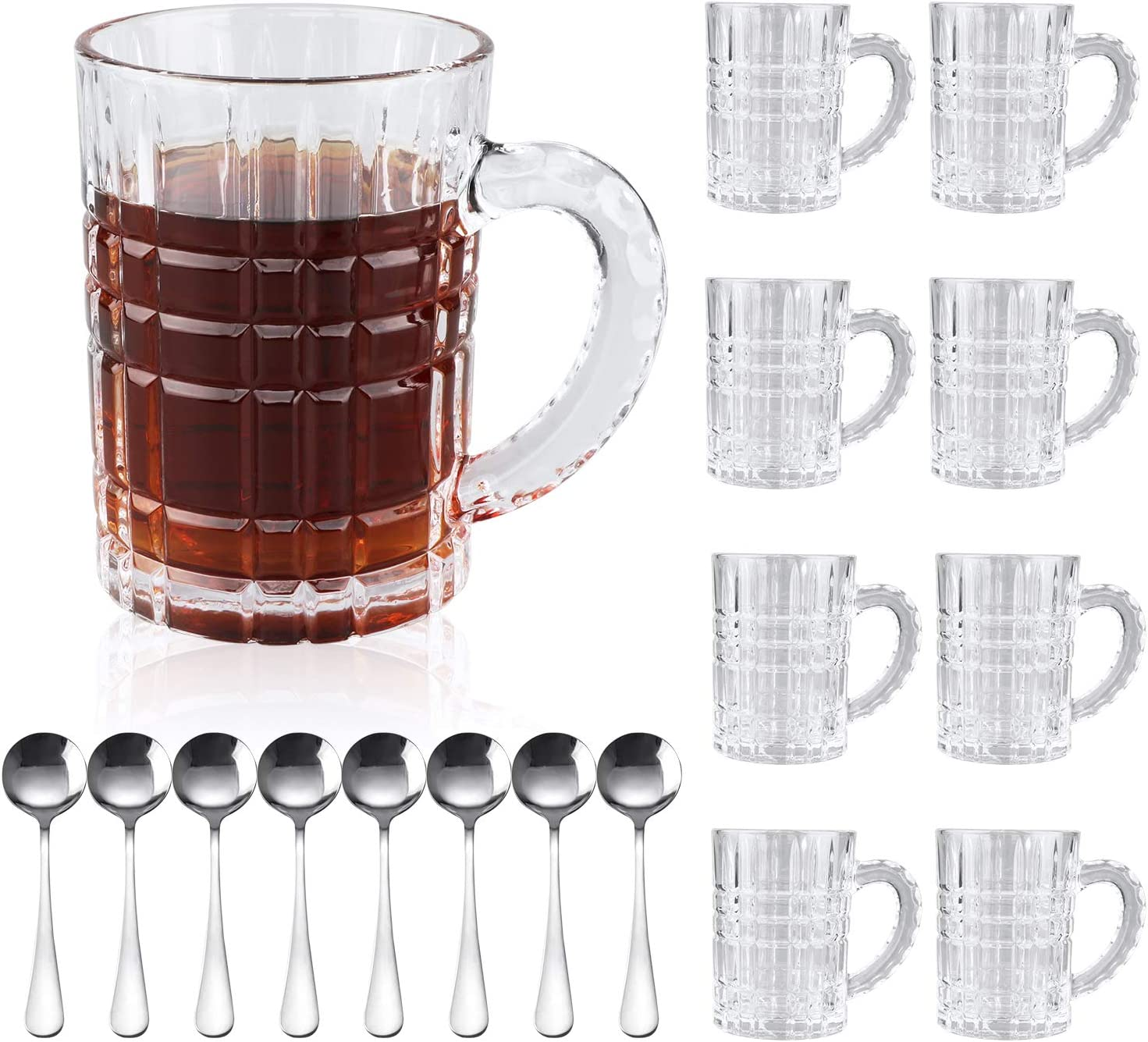 Beer Mugs Set,Glass Mugs With Handle 15oz,Large Beer Glasses For Freezer,Beer Cups Drinking Glasses 450ml,Pub Drinking Mugs Stein Water Cups For Bar,Alcohol,Beverages Set of 8
