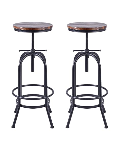 Amazing 34 Inch Vintage Industrial Bar Stool Metal And Wood Swivel Bar Stool Retro Bar Height Stool Counter Height Adjustable Kitchen Stools Set Of 2 Fully Andrewgaddart Wooden Chair Designs For Living Room Andrewgaddartcom