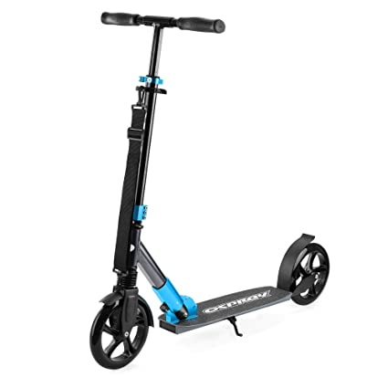 Osprey XS2 Big Wheel Scooter - Kids and Adults Folding Commuter Scooter with Adjustable Handlebars - Blue