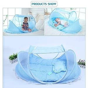 SINOTOP Bébé Voyage Lit Bébé Tente Moustiquaire Moustiquaires pour bébés Pliant portable lit Berceau Portable 0-18 Mois ( Rose)
