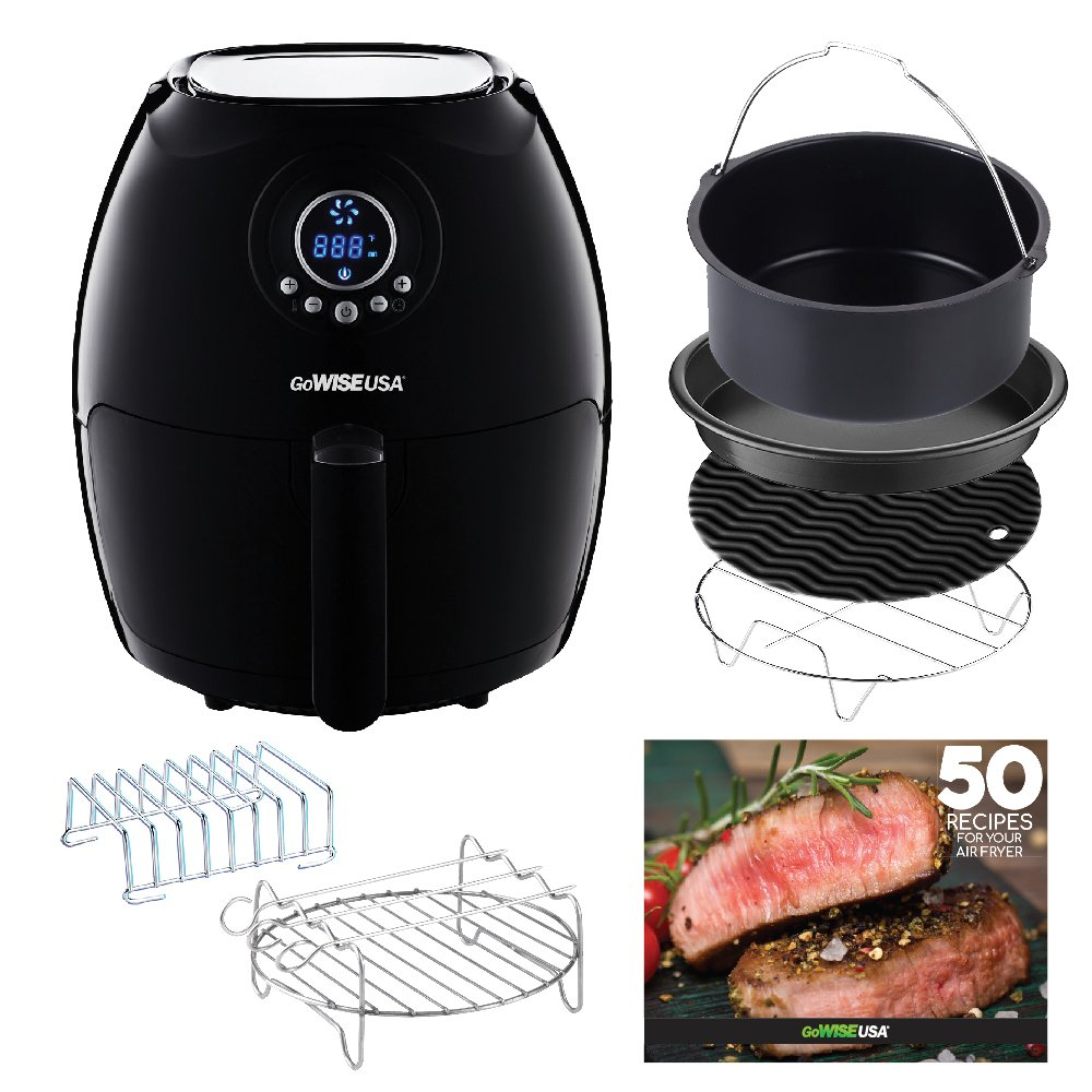GoWISE USA Air Fryer with 6-Piece Accessory Set + 50 Recipes for Your Air Fryer Book (2.75-QT, Black)